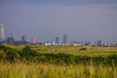 Landscape of Nairobi skyline view. At the horizon for use as wallpaper or background image stock photography