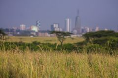Landscape of Nairobi skyline view. At the horizon for use as wallpaper or background image stock image