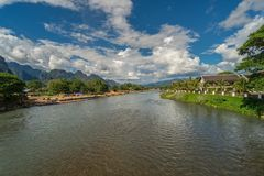 Landscape and nam song river in Vang vieng, Laos. Landscape and nam song river in Vang vieng, Laos Royalty Free Stock Images