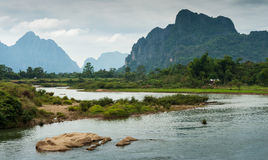 Landscape of Nam Song River. At Vang Vieng, Laos Stock Images