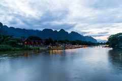 Nam Song River at Vang Vieng, Laos Royalty Free Stock Image