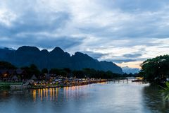 Nam Song River at Vang Vieng, Laos Royalty Free Stock Photo