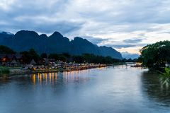 Nam Song River at Vang Vieng, Laos Stock Photo