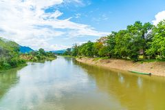 Nam Song River at Vang Vieng, Laos Royalty Free Stock Images
