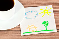 Landscape on a napkin Stock Photography