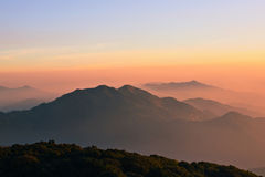 Landscape National exclaimed Mountains. Mountain Nature Ridge Sunset mountain Sky Red Stock Image