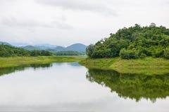 Landscape Natrue and a water mist at Kaeng Krachan Dam. Royalty Free Stock Photo