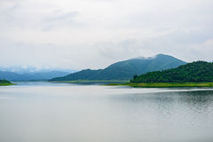 Landscape Natrue and a water mist at Kaeng Krachan Dam. Royalty Free Stock Images