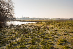 Landscape with a natural pond and frosted clumps of grass Stock Photos