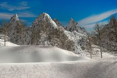 Landscape Natural snow mountain render Royalty Free Stock Photo