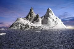 Landscape Natural snow mountain render Stock Image