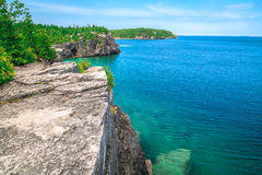 Landscape natural view on great Cyprus lake at beautiful gorgeous Bruce Peninsula, Ontario Royalty Free Stock Photos