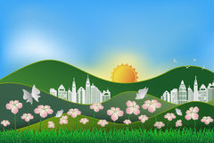 Landscape with nature and building,concept of save the earth and Royalty Free Stock Images