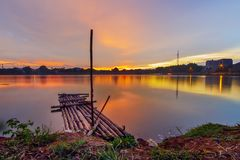 Landscape, nature, clauds, skies, sky, sunset, sunrise, lake,. Lake nature sunset sunrise indonesia jakarta asia sky sun blue sky Royalty Free Stock Photo