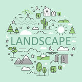 Landscape Nature Line Art Thin Icons Stock Photography