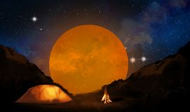 Landscape of nature in the mountains. Night view, camping with a tent and a fire Royalty Free Stock Image