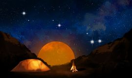 Landscape of nature in the mountains. Night view, camping with a tent and a fire Stock Image