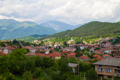 Landscape of nature near Kalofer city, Stara Plani. Landscape of Kalofer, kalofers houses and nature, Stara Planina, Bulgaria stock photos