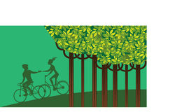 Landscape nature, people on bicycle, ecology concept, earth day Stock Photos