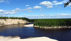 Landscape nature. The river on a background of cedar forests. Royalty Free Stock Photography