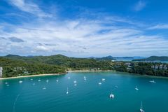 Landscape nature scenery view of Beautiful tropical sea with Sea coast view in summer season image by Aerial view drone shot.  stock image