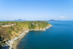 Landscape nature scenery view of Beautiful tropical sea with Sea coast view in summer season image by Aerial view drone shot, high. Angle view stock photo