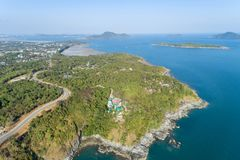 Landscape nature scenery view of Beautiful tropical sea with Sea coast view in summer season image by Aerial view drone shot, high. Angle view royalty free stock photos