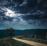 Landscape in nature of sky with cloudy and roadway through fores. Mountain landscape. Beautiful of  sky with cloudy and roadway through a evergreen forest Royalty Free Stock Photography
