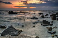landscape, nature, sky, sun, seascape, beach, sea, Royalty Free Stock Images