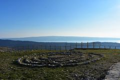 Field full of healing stones. Stone circle at the mountain royalty free stock photos