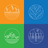 Landscape & nature vector icons - abstract logo templates & line Stock Photo