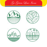 Landscape & nature vector icons - abstract logo templates & line Royalty Free Stock Image