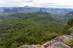 Landscape nature view, summer a view of mountains in thailand Aerial view Drone shot.  royalty free stock photo