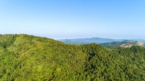 Landscape nature view, summer a view of mountains in thailand Aerial view Drone shot.  stock photography