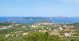 Landscape of Navarino bay and Sphacteria island Peloponnese Greece. Landscape of Navarino bay and Sphacteria island Messinia Peloponnese Greece royalty free stock photos