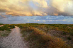 Landscape near the beach with sunset. Royalty Free Stock Photography