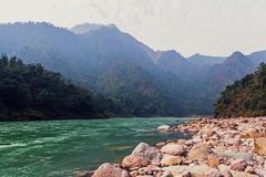 Landscape near the city of Rishikesh India with the sacred stock images