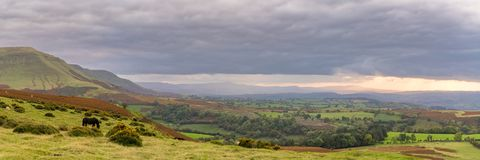 Landscape near Hay Bluff, Wales, UK. View over the landscape of the Brecon Beacons National Park on a cloudy day, seen from Hay Bluff car park in the Black Royalty Free Stock Images