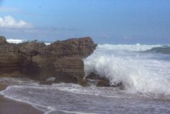 Landscape near Johanna Beach. Wave breaking on rocks at Johanna Beach, Australia stock photography