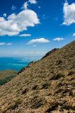 Landscape of the near mountain peak. Lake, cloudy sky background. From Van, Turkey stock photos
