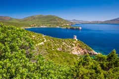 Landscape near the Neptune Grotto cave Grotta di Nettuno in Alghero, Sardinia.  Royalty Free Stock Image