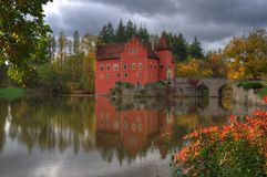 Landscape near Red /Cervena/ Lhota castle, Czech Republic. Landscape near Red Lhota castle, Czech Republic. Beautiful autumn picture whith colored trees, lake stock photo