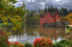 Landscape near Red /Cervena/ Lhota castle, Czech Republich. Landscape near Red Lhota castle, Czech Republic. Beautiful autumn picture whith colored trees, lake stock photo