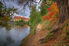 Landscape near Red /Cervena/ Lhota castle, Czech Republic. Landscape was taken near Red /Cervena/ Lhota castle, Czech Republic. Beautiful autumn picture whith royalty free stock photos