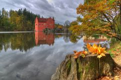 Landscape near Red /Cervena/ Lhota castle, Czech Republic. Landscape near Red Lhota castle, Czech Republic. Beautiful autumn picture whith colored trees, lake royalty free stock photos