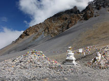 Landscape Near Thorung-La Monument and Stupa Stock Images
