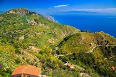 Landscape near town Taormina Royalty Free Stock Photos