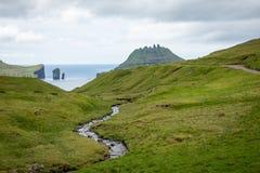 The Landscape near village of Gasadalur, Faroe Islands. Denmark