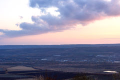 Landscape of Negresti village at purple sunset in Moldova Royalty Free Stock Image