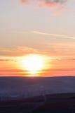 Landscape of Negresti village at red sunset in Moldova Stock Photography